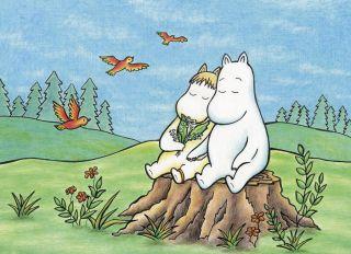 Почтовая открытка Муми-тролли на лесной опушке