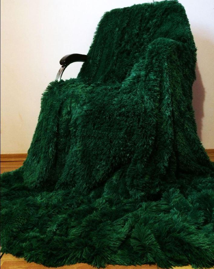 Меховое покрывало (Тёмно Зелёное)