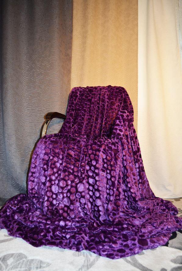 Меховое покрывало Капельки (Фиолетовое)