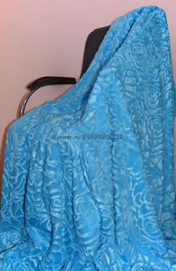 Меховое покрывало Розочки (Голубое)
