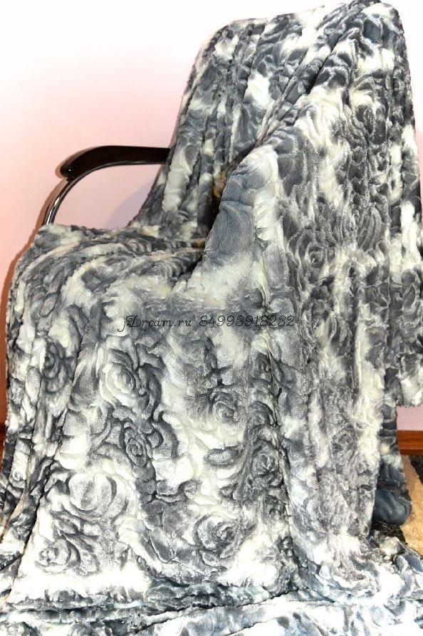 Меховое покрывало Розочки (Серое с Белым)