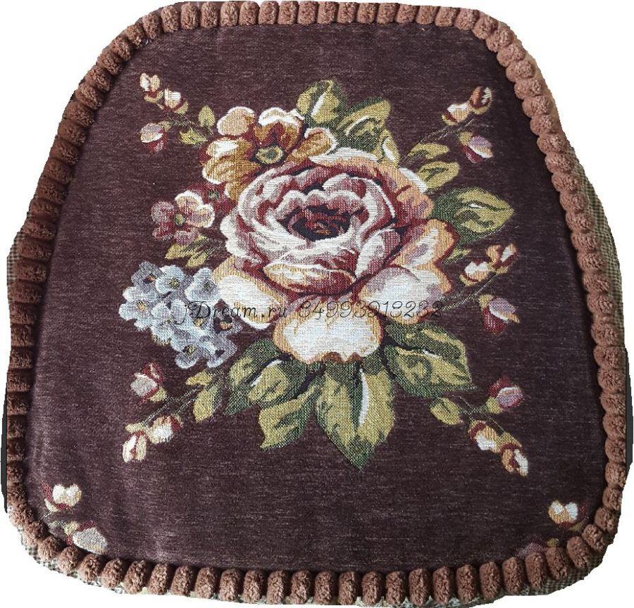 Сидушка на стул гобеленовая тёмно коричневая