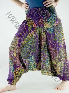 Индийские штаны алладины с разноцветным принтом