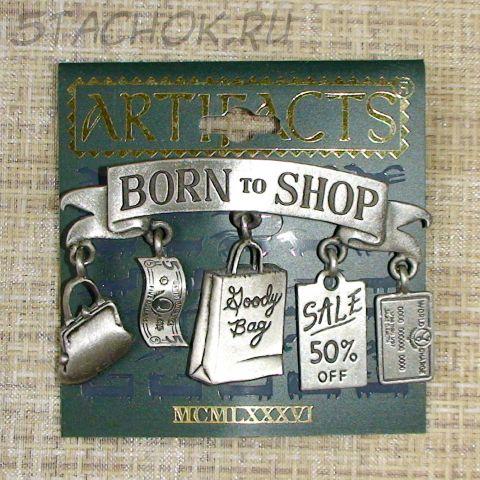 """Брошь """"Рожденный для шоппинга"""" цвет олова"""