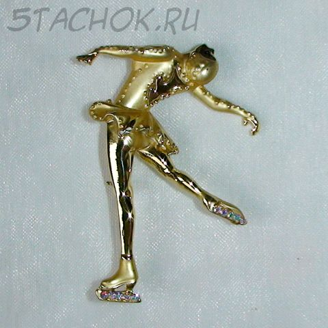 """Брошь """"Фигуристка"""" цвет золота"""