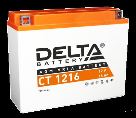 Мото аккумулятор АКБ Delta (Дельта) CT 1216 о.п. 16Ач YB16AL-A2
