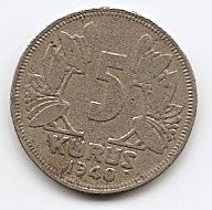5 курушей (Регулярный выпуск) Турция 1940