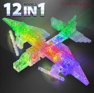 Светодиодный конструктор 12 в 1 Laser Pegs Грузовой самолет