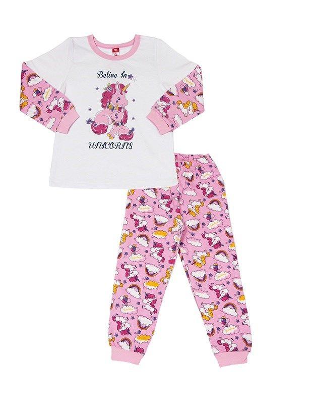 20fdf4a24611 Купить теплую пижаму из розового трикотажа с набивным рисунком для ...