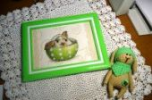 """Cross stitch pattern """"Bunny in a сup""""."""
