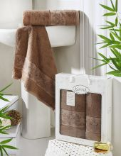 Комплект из 2-х бамбуковых полотенец PANDORA 50*90+70*140(коричневый) Арт.2197-6