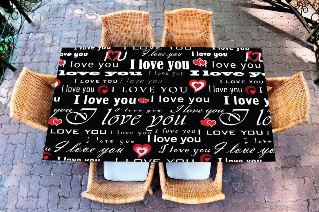 Наклейка на стол - I love 1