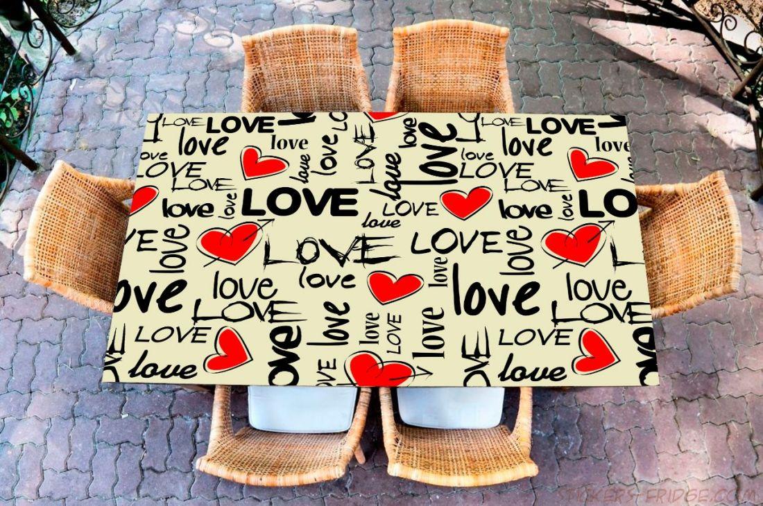 Наклейка на стол - I love 2