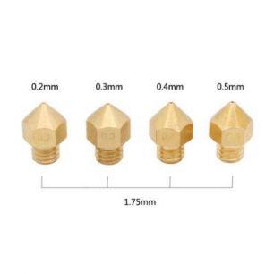 Сопло для экструдера универсальные, MK8, полированные (0,2мм; 0,3мм; 0,4мм; 0,5мм)
