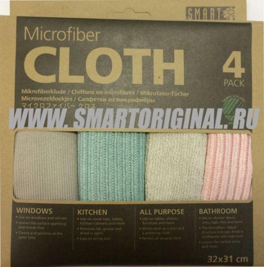 Smart Microfiber Комплект салфеток Ультра 32 х 31 см серые, розовая, морская волна 4 шт.