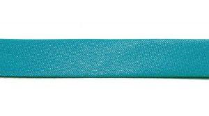 `Косая бейка, атласная, ширина 15 мм, цвет: бирюзовый