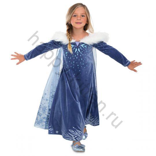 Платье костюм Эльзы ЛЮКС размер 5/6 лет