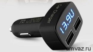 Индикатор 4в1 + ЗУ на 2 USB (Вольты, Амперы, Термометр) цифры красные