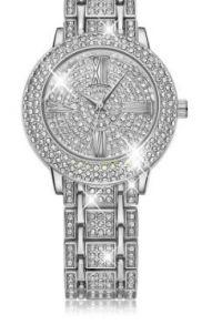 Позолоченные белым золотом часы с кристаллами Сваровски Miyota Bling WhiteGP (арт. 460110)