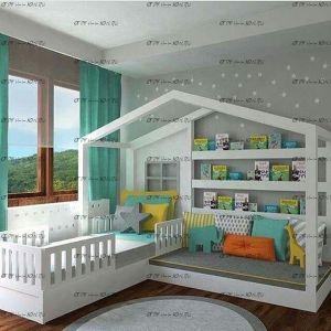 Кровать Домик №KV (для двоих детей)