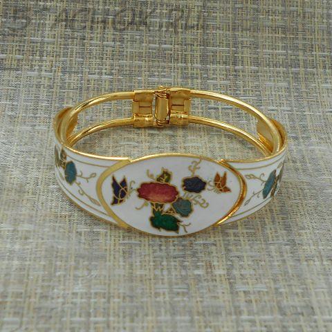 """Браслет """"Бабочки и цветы на белом"""" клуазоне (Тайвань/Китай)"""