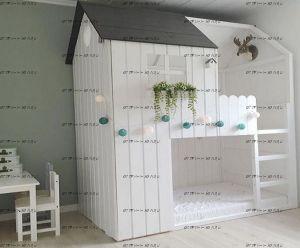 Кровать двухъярусная Домик №7 Wood (любые размеры)