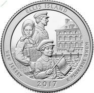 39-й квотер Парк США 25 центов 2017 Национальный монумент острова Эллис P,D UNC