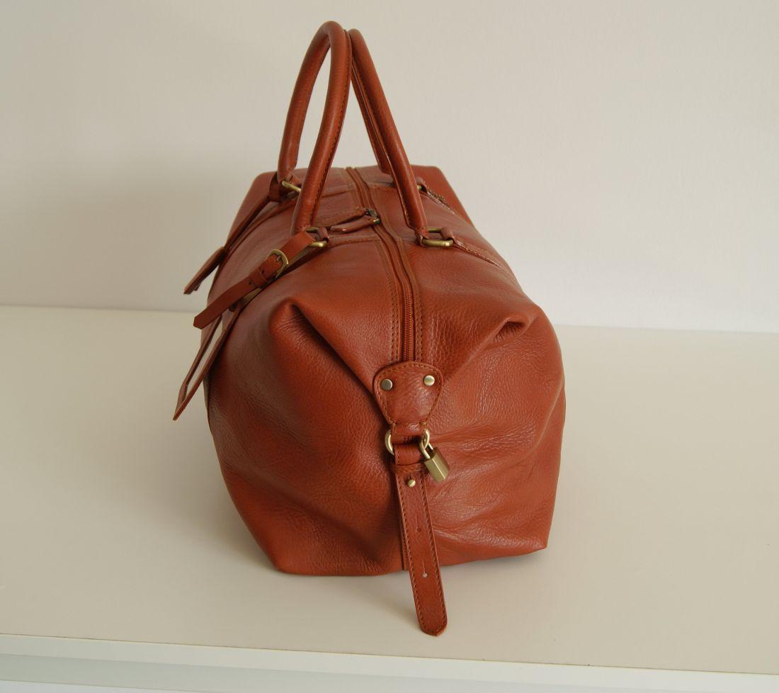 BUFALO BBJ01 SMALL CAMEL дорожная кожаная сумка