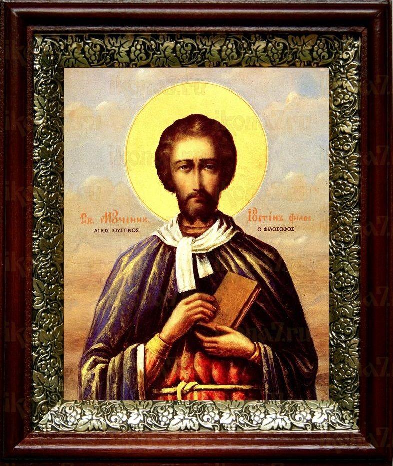 Иустин Философ (19х22), темный киот