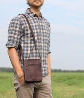 BUFALO SMJ-03 BROWN кожаная сумка для документов