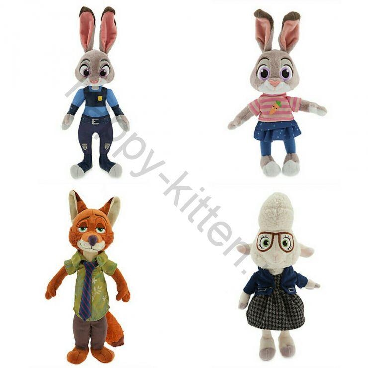 Комплект 4 мягких игрушки  из мультфильм Зверополис