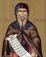 Венедикт Нурсийский  (рукописная икона)