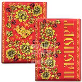 Обложка для паспорта «Цветы (красный фон)