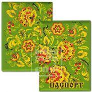 Обложка для паспорта «Цветы (зеленый фон)»
