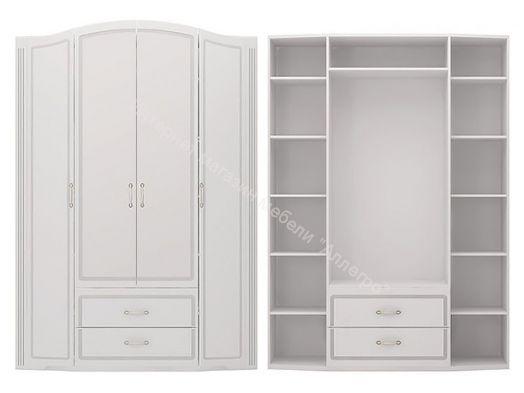 Шкаф для одежды с ящиками (без зеркал) Виктория Белый глянец