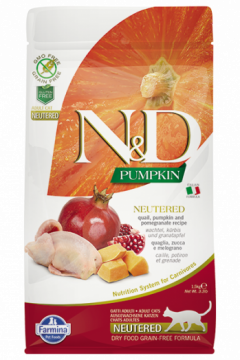 N&D Cat Pumpkin Neutered Quail (перепел, тыква и гранат для кастрированных кошек)