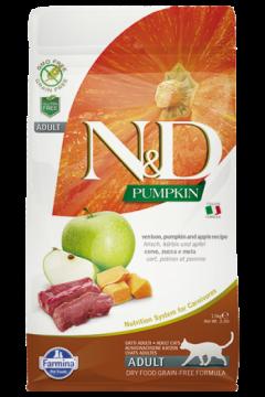 N&D Cat GF Pumpkin Venison.(Оленина, тыква и яблоко для взрослых кошек.)