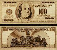 100 ДОЛЛАРОВ США, ПОЗОЛОЧЕННАЯ СУВЕНИРНАЯ КУПЮРА