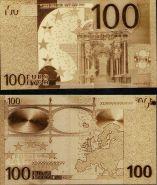 100 ЕВРО , ПОЗОЛОЧЕННАЯ СУВЕНИРНАЯ КУПЮРА