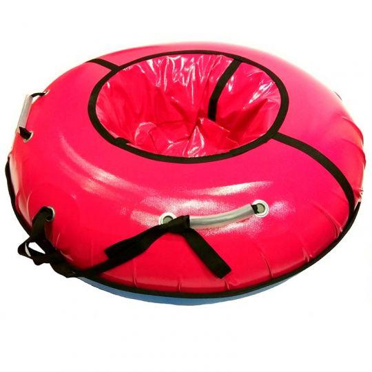 Тюбинг с пластиковым дном Профи 90 см красный