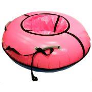 Тюбинг с пластиковым дном Профи 90 см розовый