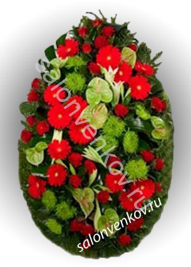 Элитный траурный венок из живых цветов №7, РАЗМЕР 100см,120см,140см,170см