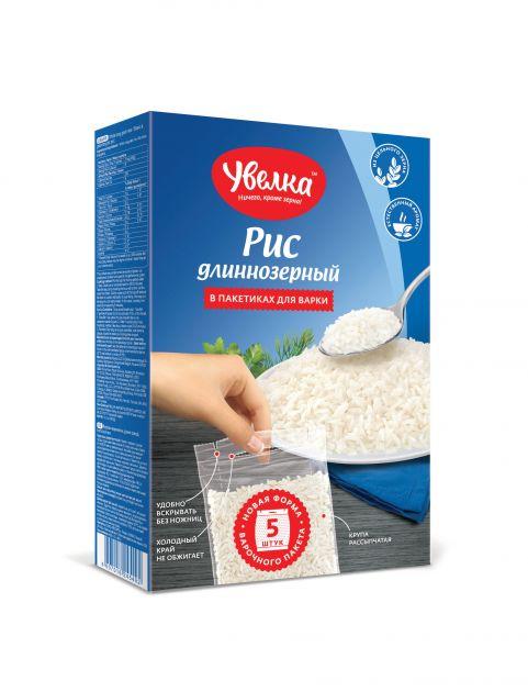 Рис длиннозерный шлифованный Увелка (80гр*5пак) 400гр*14 (942)