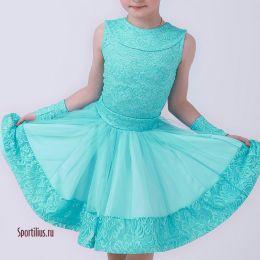 Рейтинговое платье для спортивных танцев, бирюзовое