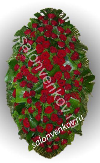 Элитный траурный венок из живых цветов №9, РАЗМЕР 100см,120см,140см,170см