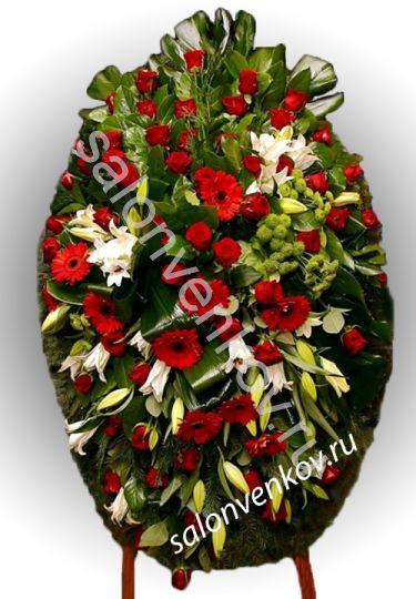 Элитный траурный венок из живых цветов №10, РАЗМЕР 100см,120см,140см,170см