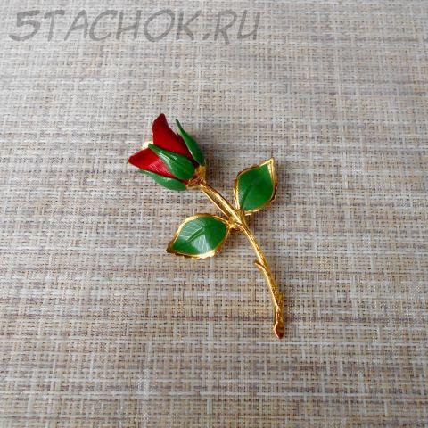 "Брошь ""Красная роза"" (Giovanni США)"