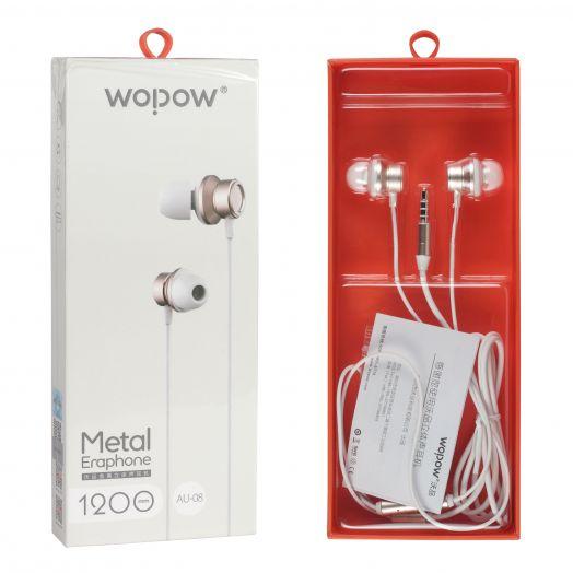Наушники вакуумные - гарнитура Wopow Metal Eraphone AU-08 (БЕЛЫЕ)