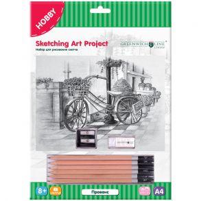 """Набор для рисования скетча Greenwich Line """"Прованс"""", A4, карандаши, ластик, точилка, картон"""
