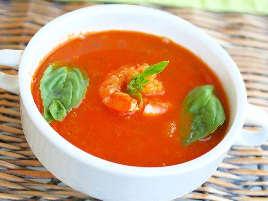 Томатный крем суп с креветкой